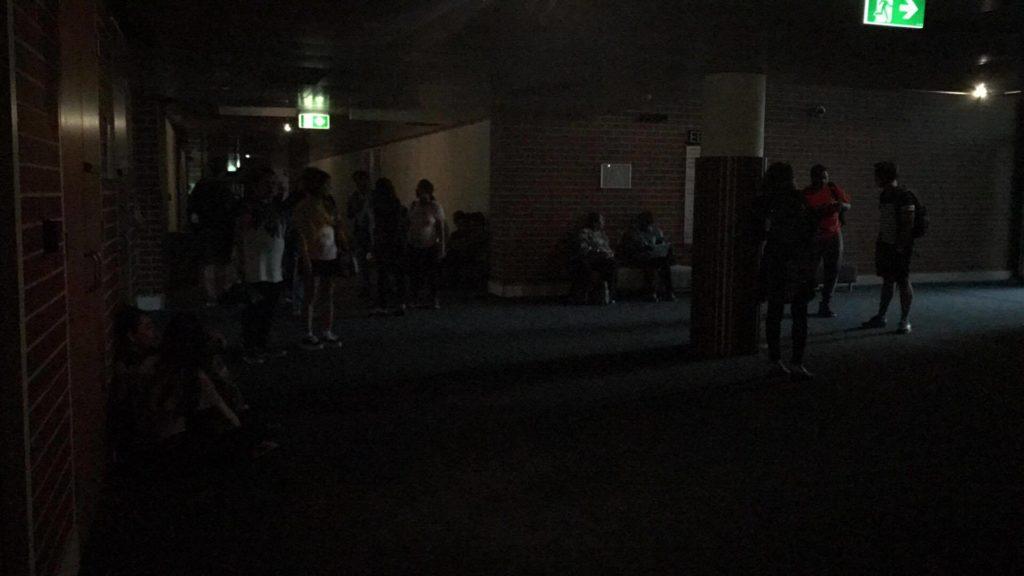 Parramatta's building EA without power. Photo: Yasmine Lewis